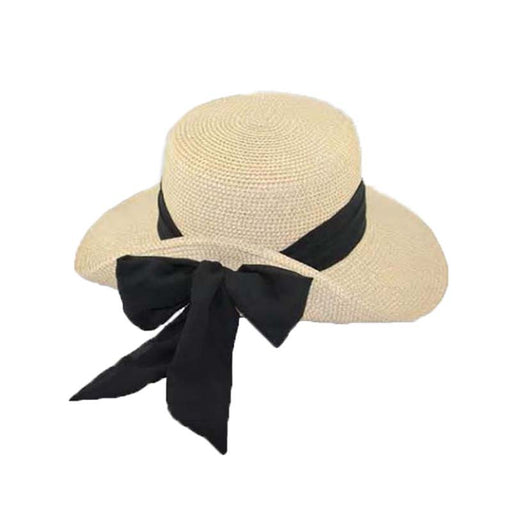 js8415 pinned up back sun hat with metallic thread long bow chiffon tie jeanne simmons hats natural gold