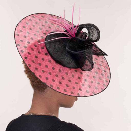 Black and Hot Pink Polka Dot Sinamay Cocktail Hat - KaKyCO