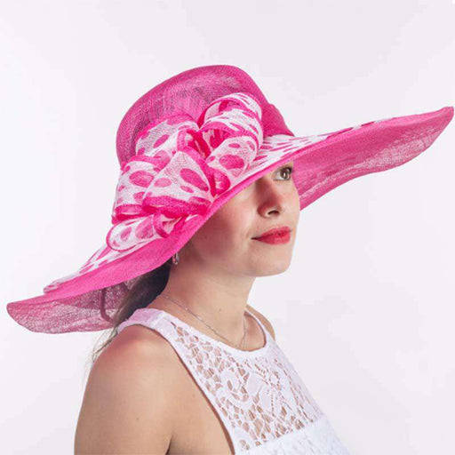 Swirly Polka Dot Brim Fuchsia and White Dress Hat - KaKyCO