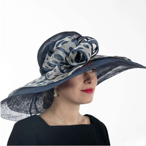 Swirly Polka Dot Brim Navy and Grey Dress Hat - KaKyCO