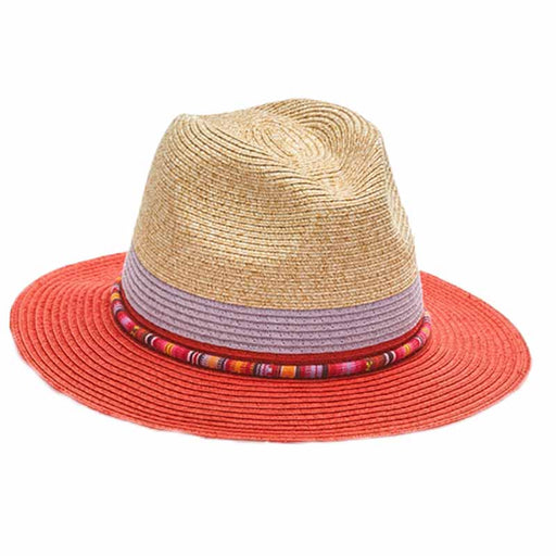 Three Tone Safari Hat with Colorful Band - Kallina
