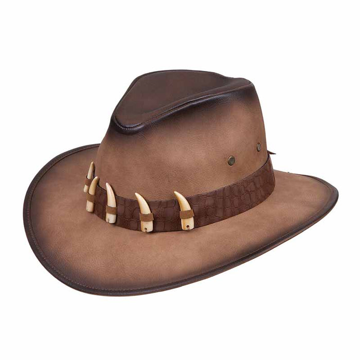 karen k keith distressed leather like safari outback hat with aligator teeth band men western brown