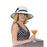 karen keith ribbon trimmed sun hat with ribbon and straw bow women model navy polka dot dress upf50