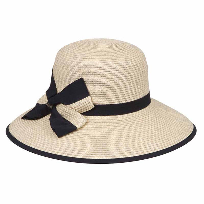 karen keith ribbon trimmed sun hat with ribbon and straw bow women natural straw black ribbon