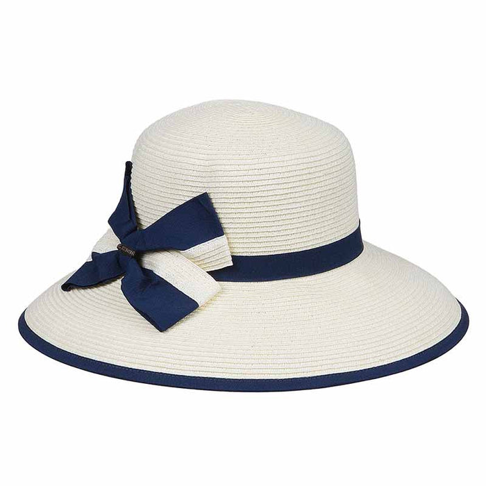 karen keith ribbon trimmed sun hat with ribbon and straw bow women navy upf50