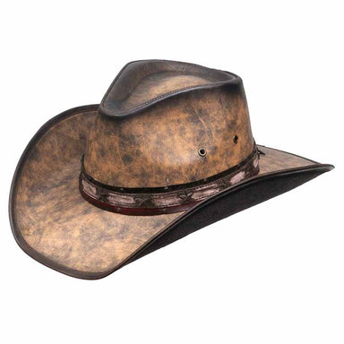 kenny k distressed leather like cowboy hat with red white blue star pin band brown karen keith