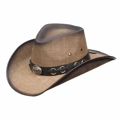kenny k weathered canvas look western cowboy hat with nickel bull concho and rings faux leather band karen keith kenny keith men hats  DL10-H