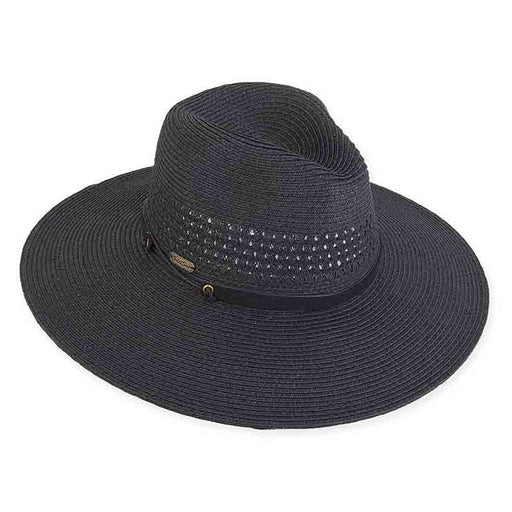 Wide Brim Straw Safari Hat with Lattice Woven Crown - Sun'N'Sand