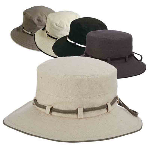 Cotton Bucket Hat with Tie - Scala Collezione