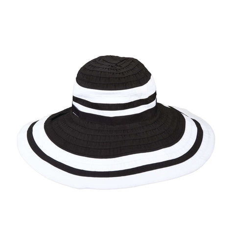 Scala Large Brim Black and White Hat