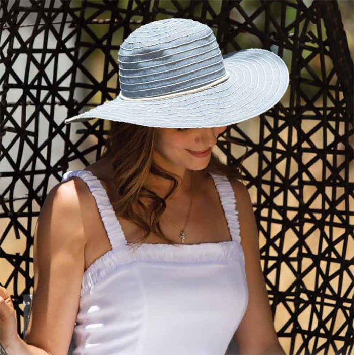 Frayed Edge Grosgrain Ribbon Floppy Hat - Scala Studio Hat
