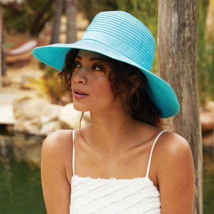 Deluxe Ribbon Floppy Hat with Chin Strap - Scala Hats