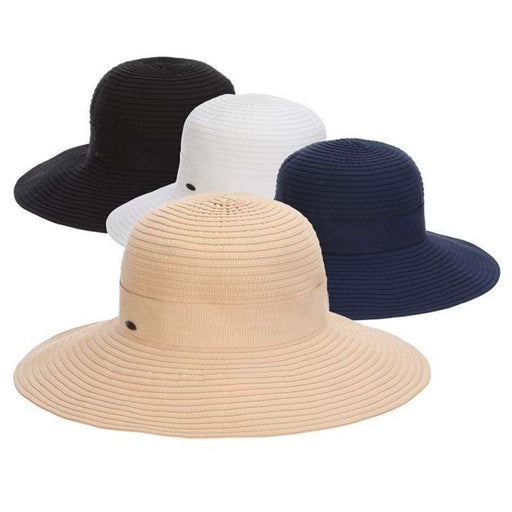 Deluxe Ribbon Floppy Hat with Shell Ring - Scala Hats