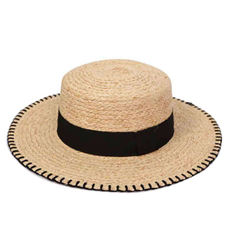 Raffia Braid Boater with Stitched Brim