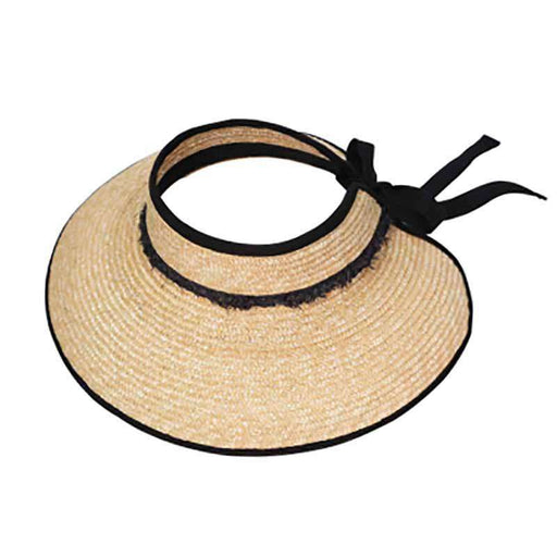 Straw Sun Visor Hat with Frayed Band - KW Fashion
