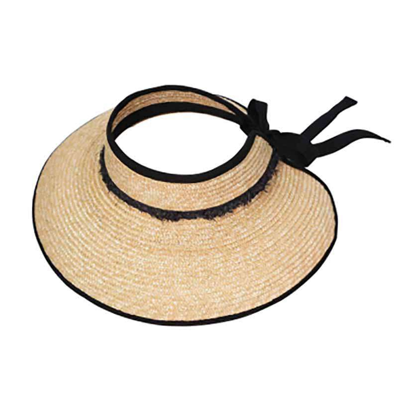 223199fa2 Straw Sun Visor Hat with Frayed Band - Crownless Sun Hats for Women — SetarTrading  Hats