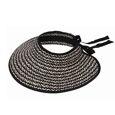 Black and Ivory Wrap Around Sun Visor Hat - KW Fashion - SetarTrading Hats