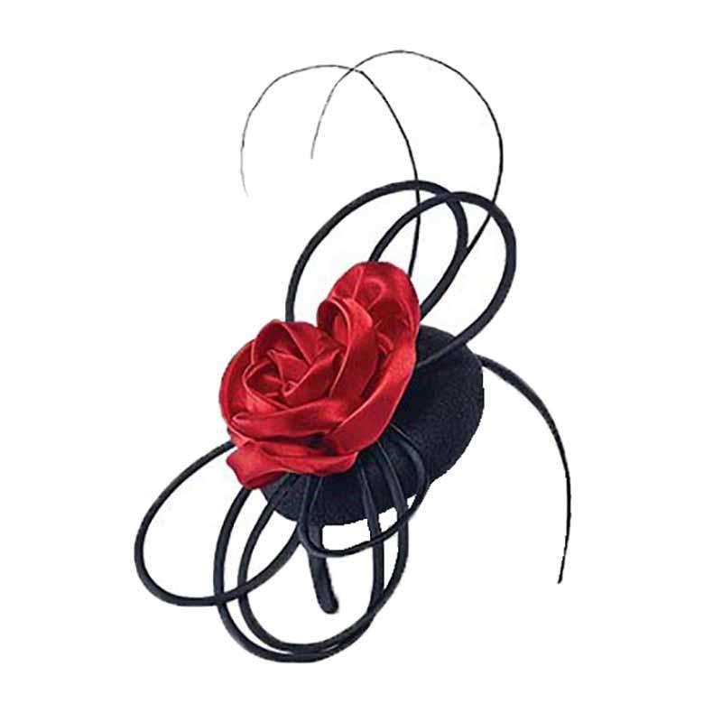 Wool Felt Loopy Fascinator with Satin Flower - Scala - SetarTrading Hats