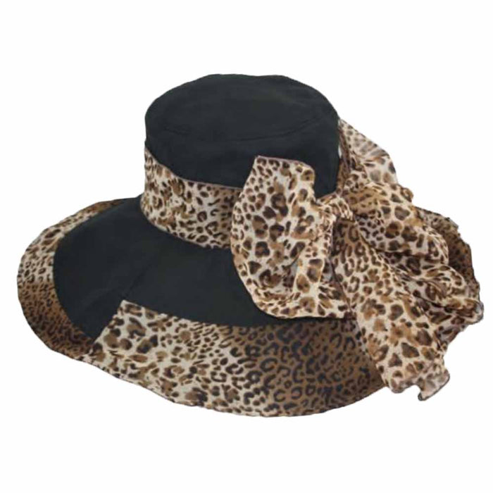 Linen Sun Hat with Animal Print Scarf - Jeanne Simmons Hats