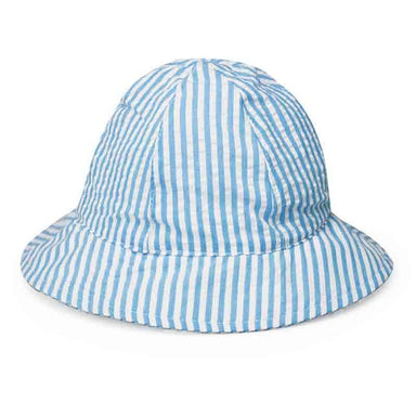 "Sun protective hat for baby boys and girls. Classic six panel soft cotton bucket hat lined with terrycloth.  Matching Velcro® chin strap.  Infant size, 43 cm (16.9""); fits 3-12 months."