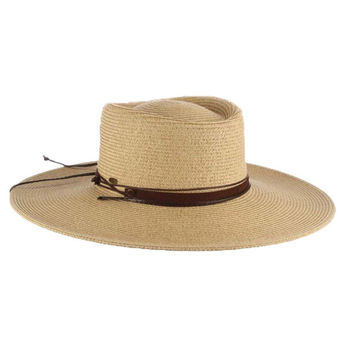 Wide Brim Gaucho Hat with Chin Cord - Scala Hats