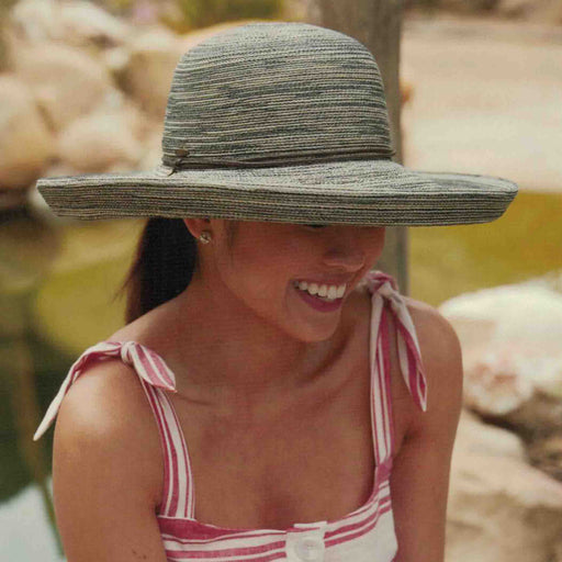 Multi Tone Shapeable Brim Sun Hat with Chin Cord - Scala Hats
