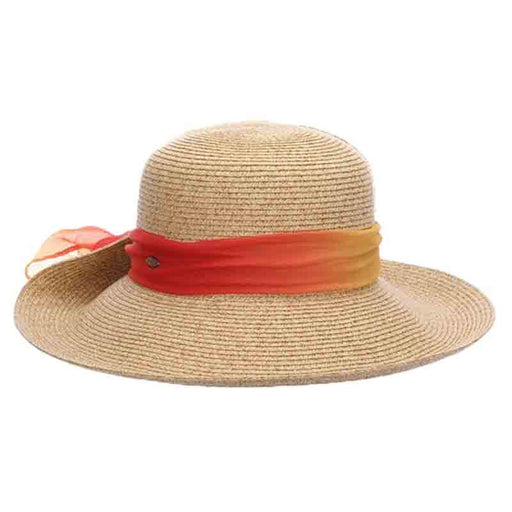 Pinned Up Brim Sun Hat with Tie Dye Chiffon Scarf - Scala Collezione