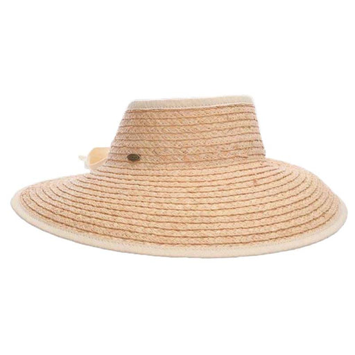 Organic Raffia Wrap Around Sun Visor Hat - Scala Collezione