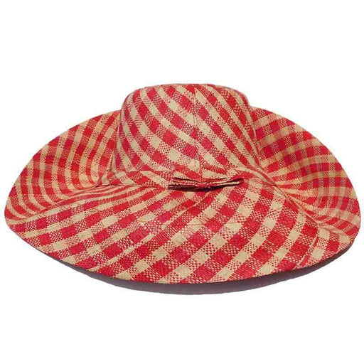 Madagascar Raffia Large Brim Gingham Beach Hat
