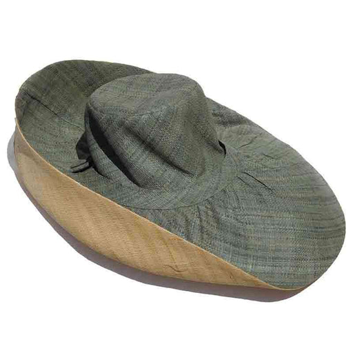 Madagascar Raffia Extra Large Brim Two Tone Beach Hat