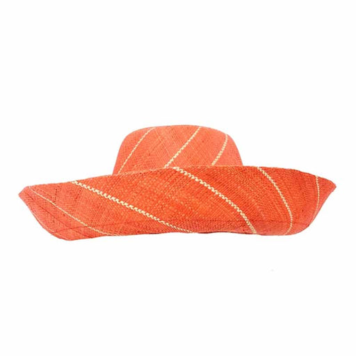 madagascar raffia beach hat large brim shapeable summer hat women pin stripes coral