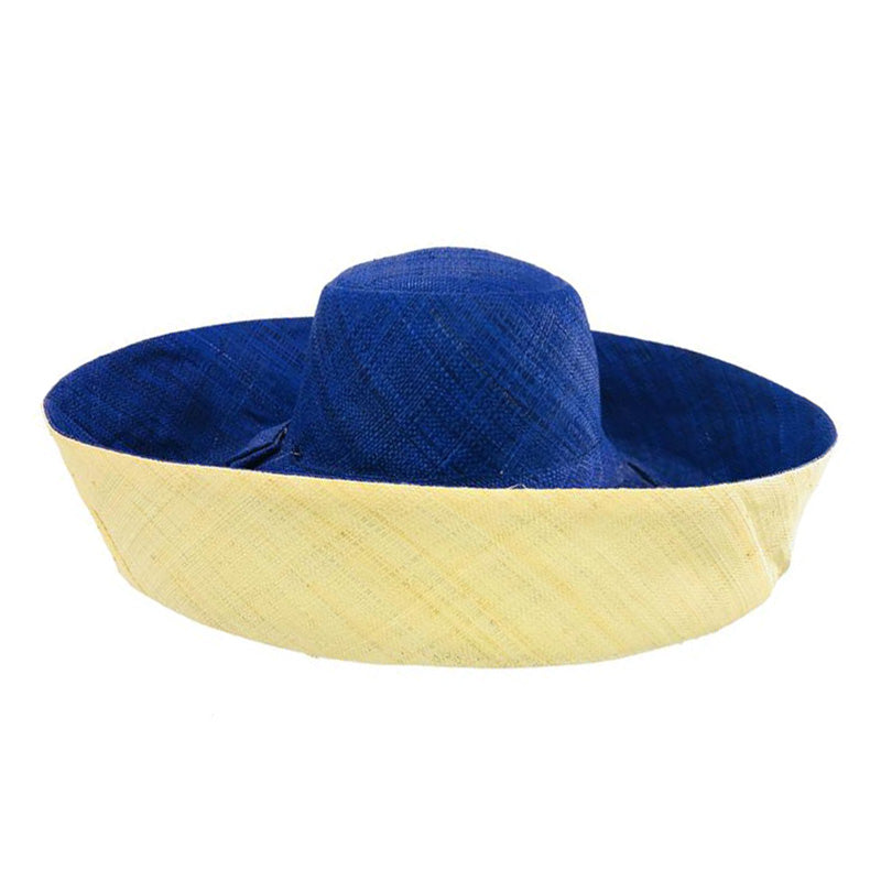 Madagascar Raffia Large Brim Two Tone Beach Hat
