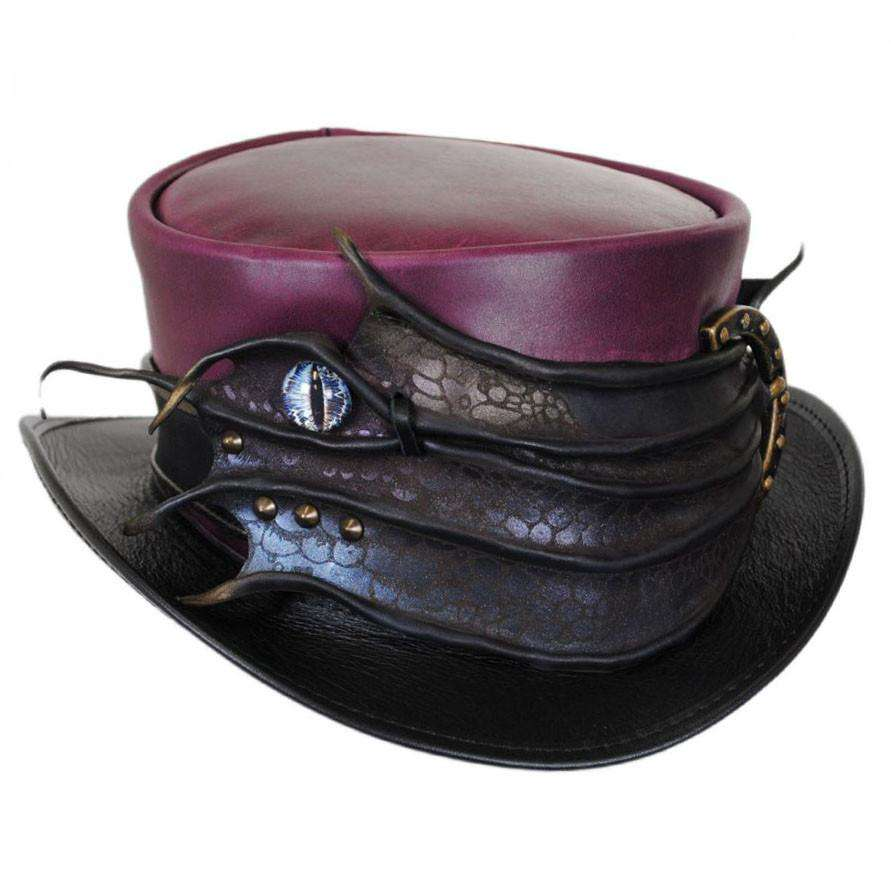 Marlow Leather Steampunk Top Hat - Brown - SetarTrading Hats