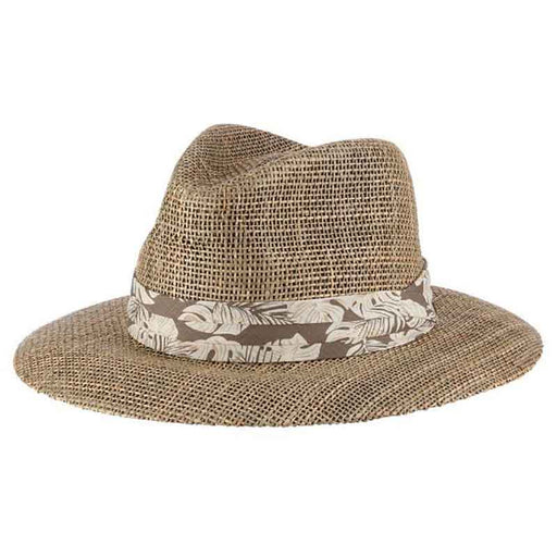 Matte Seagrass Safari Hat with Tropical Band - Scala Hats for Men