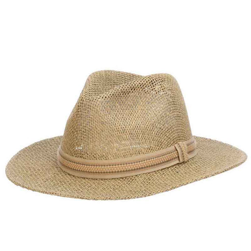 Matte Toyo Safari Hat with Ribbon Band Overlay - Scala Hats for Men