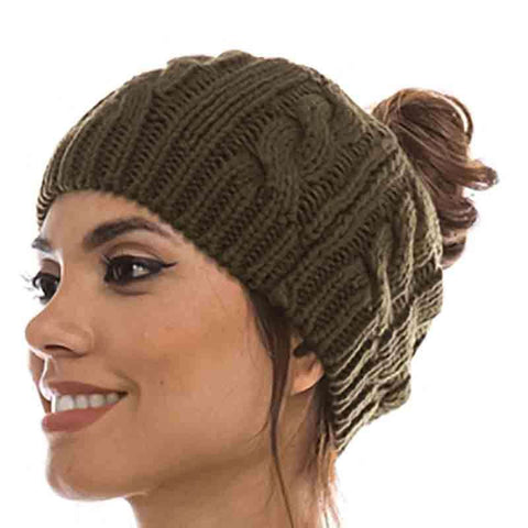 Cable Knit Messy Bun Beanie - DNMC