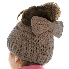 Hand Crocheted Fashion Bun Beanie with Bow - DNMC