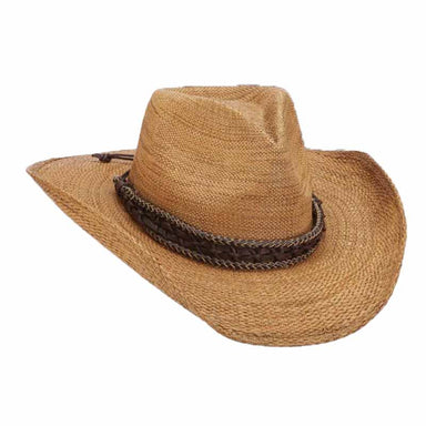 missoula bangkok straw western men's cowboy hat natural and brown braided leather rope band