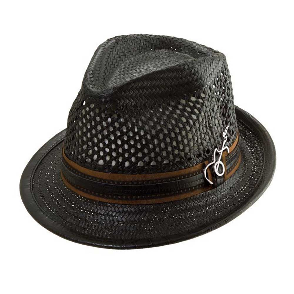 Mohican Vented Crown Straw Fedora - Carlos Santana Hats