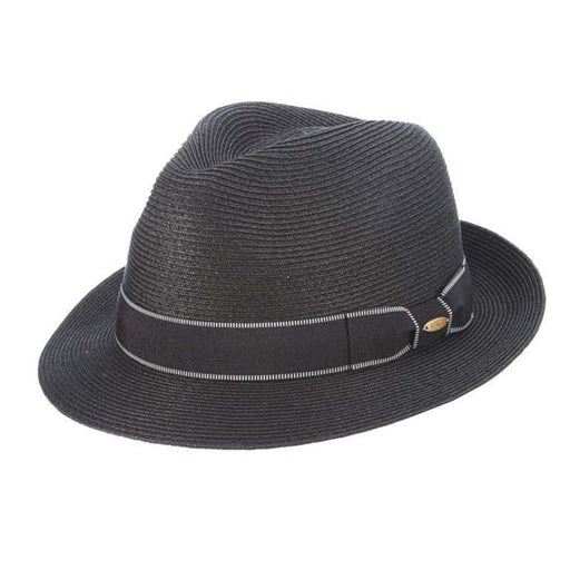 Microbraid Fedora with Black Stitched Band - Scala Hats for Men