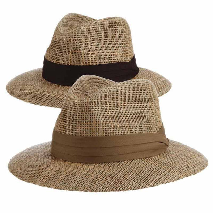 Matte Seagrass Safari Hat with 3-Pleat Cotton Band - Scala Hats