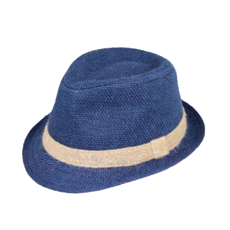 Small Heads Navy Blue Linen Fedora - Jeanne Simmons Hats