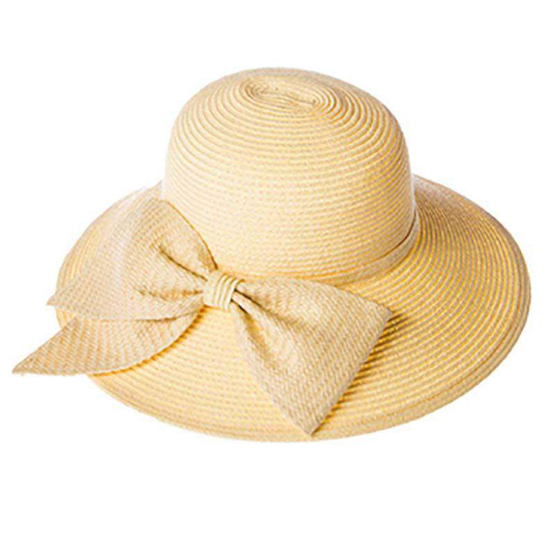Big Brim Sun Hat with Large Bow - SetarTrading Hats