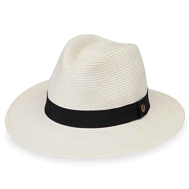 "The perfect unisex resort hat to match any wardrobe coordination. Safari style hat made of soft braided fabric for ultimate comfort fit.  Light weight hat with 2.75"" wide brim.  C-crown with pinched front.  Ribbon band with signature ""W"" pin.  Packable. Fold brim up than in half, like a taco. Great for travel!"