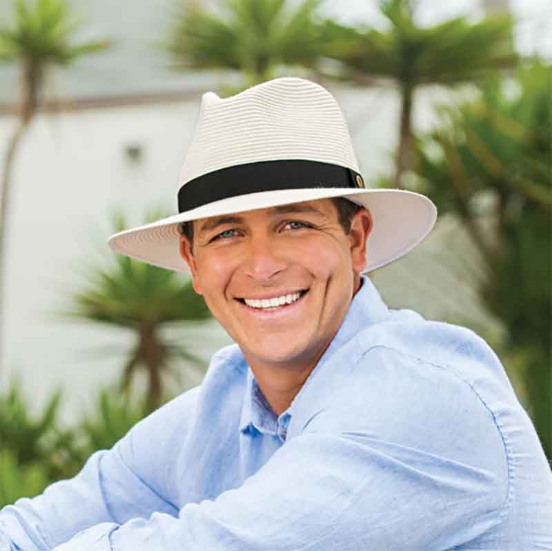 The perfect unisex resort hat to match any wardrobe coordination. mean wearing ivory color palm beach hat