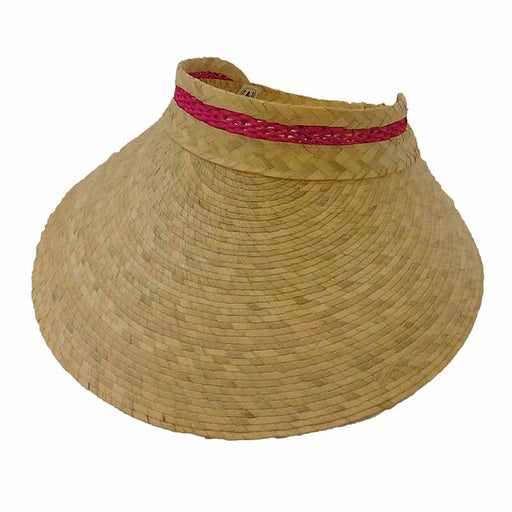 Palm Straw Wide Brim Women's Sun Visor - Texas Gold Hats