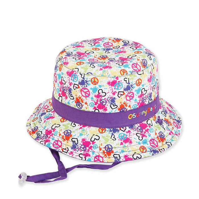 Small Heads Peace Splatter Reversible Cotton Bucket Hat - Sunny Dayz™