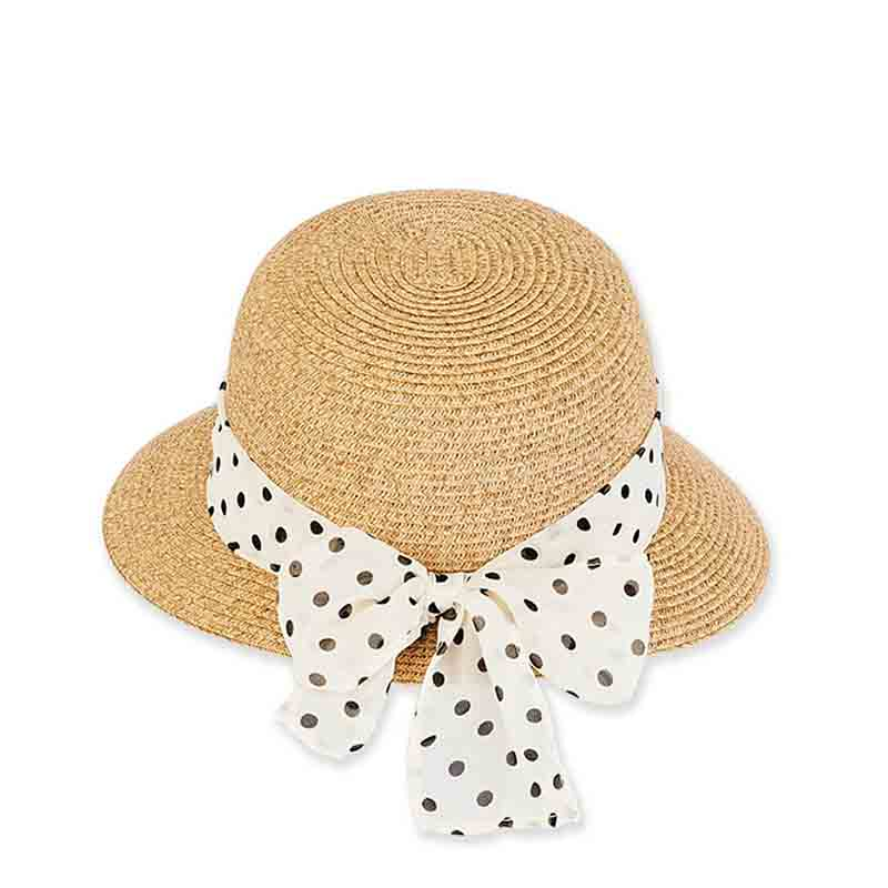 Petite Asymmetrical Brim Hat with Polka Dot Sash - Sunny Dayz™