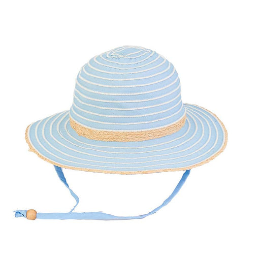 Petite Two Tone Ribbon Floppy Hat with Chin Strap - Sunny Dayz™