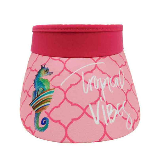 Tropical vibes pink sea horse cotton sun visor with curly coil lace closure by sun and sand hats
